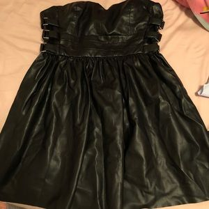 Zara Black Soft Leather Strapless Flared Out Dress